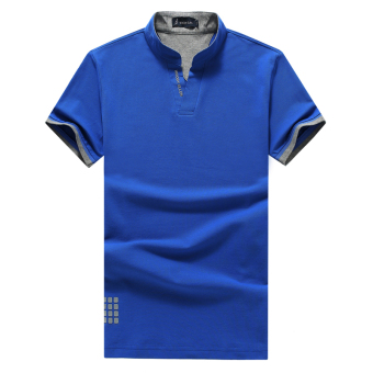 Cotton solid color Fold-down collar Slim fit polo shirt summer Top (Collar paragraph blue)