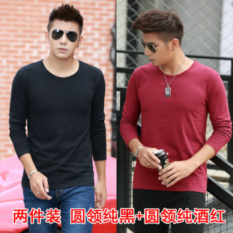Cotton winter round neck long-sleeved men T-shirt heattech (Round Neck black + round neck wine red color)