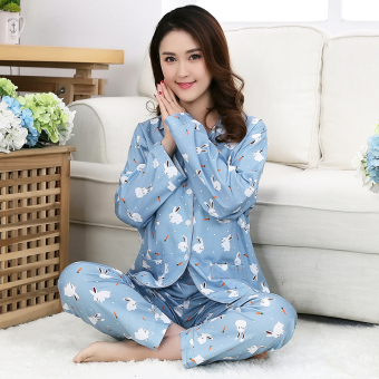 Cotton women's long-sleeved pants home clothes cotton cloth pajamas (Radish rabbit)