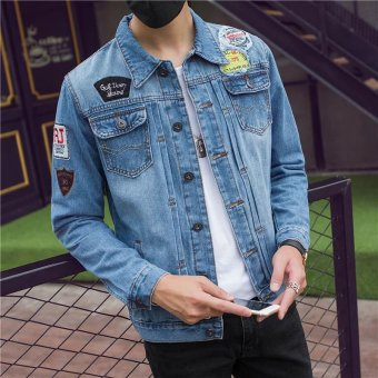 Couple autumn men's denim motorcycle jacket (Badge jacket)