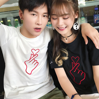 Couple Korean-style Embroidery Short Sleeve T-Shirt (Black)