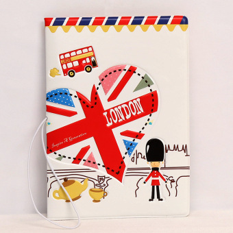 Couple's 3D export travel ticket storage card holder passport folder (White)