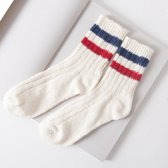 Couple's autumn new striped thick line cotton socks (Hong blue)