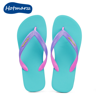 Couple's casual flip-flop non-slip slippers flip-flops (Light blue)