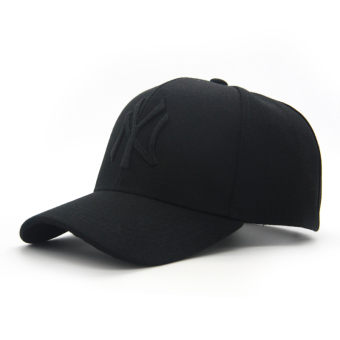 Couple's Korean-style female baseball cap hat (New style black Black Label)