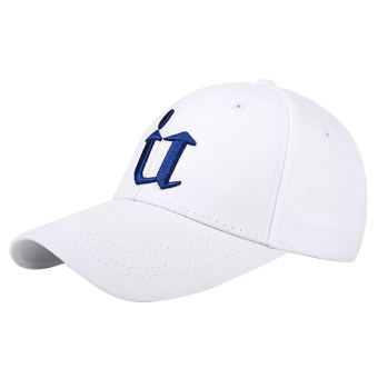 Couple's Korean-style female baseball cap hat (U section White Blue Label)