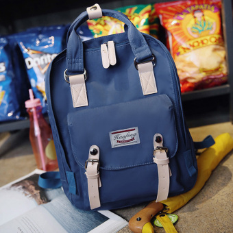 Couple's Korean-style female high school students school bag backpack (Dark blue color)