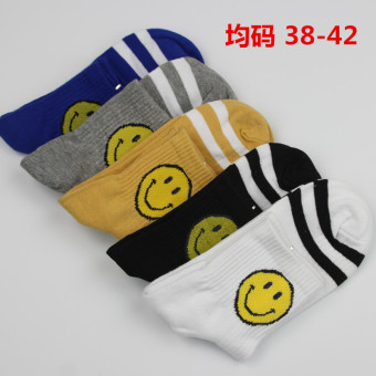 Couple's Korean-style striped Two Socks (Smiley 38-42 are code 5 double)