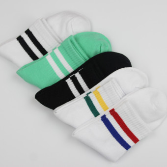 Couple's Korean-style striped Two Socks (Two bar men's 5 color 5 double loaded)
