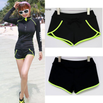 Couple's New style for Men and Women quick-drying sunscreen swimming clothing zipper jacket (Black green stripe women's shorts)