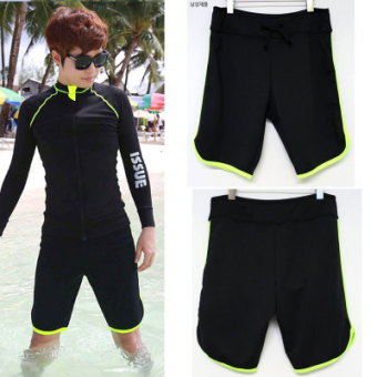 Couple's New style for Men and Women quick-drying sunscreen swimming clothing zipper jacket (Black green striped men shorts)