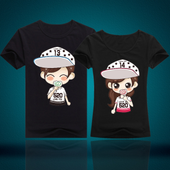 Couple's New style short sleeved Top T-shirt (Black)