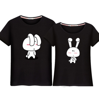 Couple's New style short sleeved Top T-shirt (Black (rabbit))