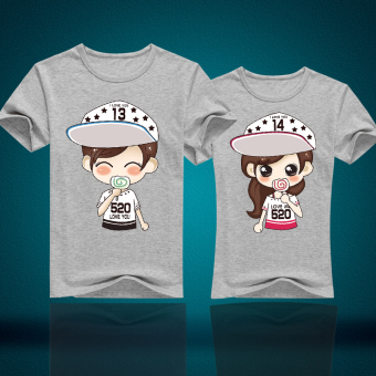Couple's New style short sleeved Top T-shirt (Gray)