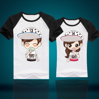 Couple's New style short sleeved Top T-shirt (Raglan)