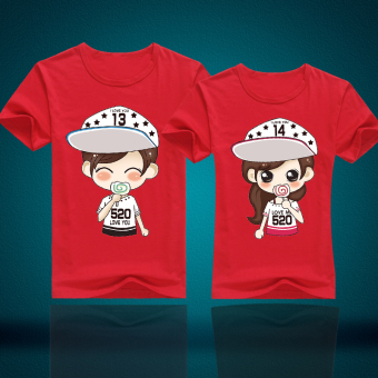 Couple's New style short sleeved Top T-shirt (Red)