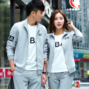 Couple's New style Spring and Autumn Plus-sized menswear sports clothing (Light gray color (jacket + pants) two-piece Sets)