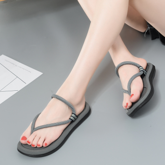 Couple's versatile female flat slippers flip-flops (56 gray (Partial small a code))