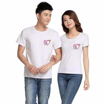 Couples Shirts for Men and Women with Cupid Arrow Heart Print -White