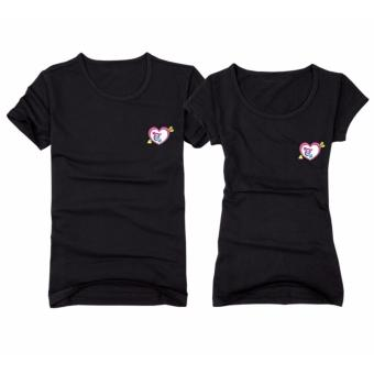 Couples Shirts for Men and Women with Cupid Arrow Heart Printed(Black)