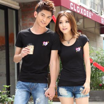Couples T-Shirts for Men and Women with Arrowed Heart Style (Black)