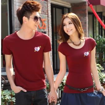 Couples T-Shirts for Men and Women with Arrowed Heart Style -Maroon