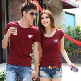 Couples T-Shirts for Men and Women with Arrowed Heart Style(Maroon)