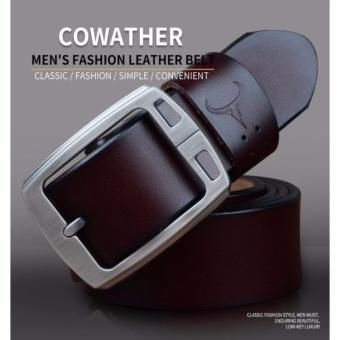 COWATHER 100% Cow Leather Belts For Men - Mens Cow Genuine Leather Belt for Dress & Jeans - Big & Tall Size - Great - 3