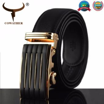 COWATHER 2018 Men's Top Genuine Leather Belts--Business Automatic Alloy Buckle Belt 100% Cow Genuine Leather Formal Ratchet Strap Belt Causal Ratchet Belt for Men Black S-XXL LY712BG - intl