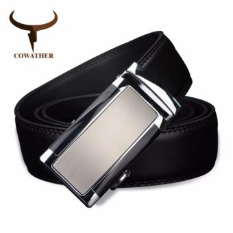 COWATHER Men Men's 100% Cow Genuine Leather Belt Sliding Buckle 35mm Ratchet Belt Black