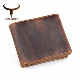 COWATHER Men Top Cow Leather Wallets Zipper Bifold Short Style Male Purse,carteira Masculina - intl