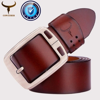 COWATHER Men's 100% Cow Genuine Leather Belt Waist Band Strap Pin Buckle Belts