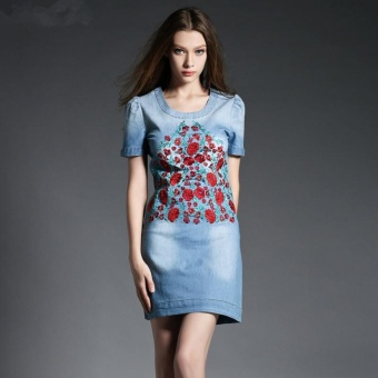 Cowboy Dress Large Size Women Summer New Leisure Fashion FlowersEmbroidered Short Sleeve Washed Denim Dress - intl