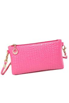 Crocodile Leather Crossbody Bag (Pink)