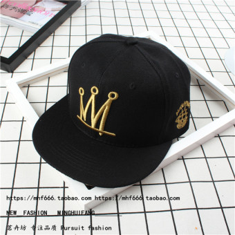 CROWN Korean-style summer men and women visor baseball cap hat (Black)