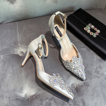 Crystal female New style crystal shoes wedding shoes (White 7.5 cm)