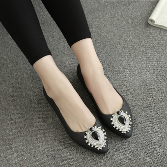 Crystal ol female flat gel shoes pointed shoes (Black)