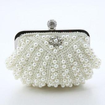 Crystal Pearl Beaded Evening Bag Off-white