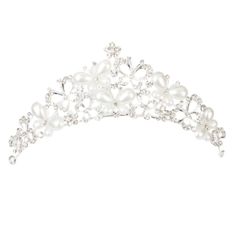 Crystal Pearl Butterfly Tiara (Silver) - picture 2