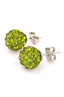Crystal Rhinestones and Clay Shamballa Ear Studs Earrings (Green)