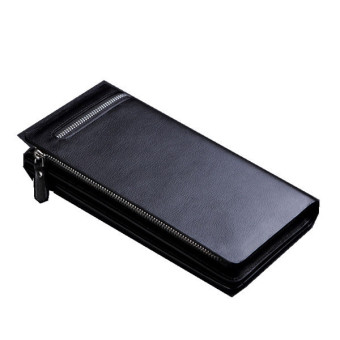 CUREWE KERIEN Brand Men's PU Leather Long Zipper Purse Business Wallet Handbag Black - 2
