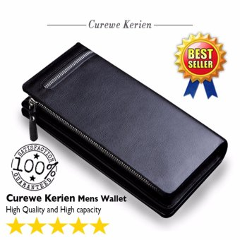 Curewe Kerien men's pu leather wallet - High capacity and High Quality - CLASSIC BLACK COLOR