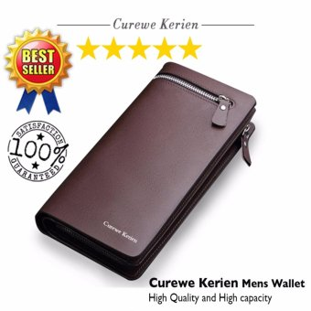 Curewe Kerien men's pu leather wallet - High capacity and High Quality - ( COFFEE BROWN COLOR )