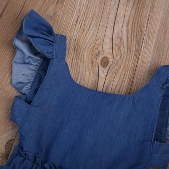 Cute Baby Girls Kid Toddler Summer Ruffle Denim Jeans Tutu OutfitShort Dress - intl - 5