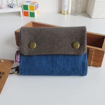 Cute canvas female student small wallet short wallet (Dark blue color)
