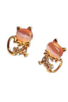 Cute Cat Stone Crystal Rhinestone Stud Earrings Pink - picture 2