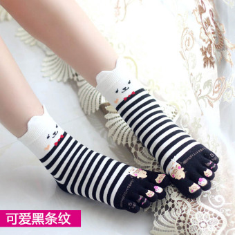 Cute cotton full in the system women's socks toe socks (Cute black striped)