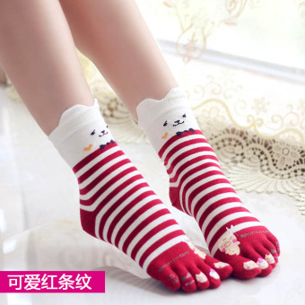 Cute cotton full in the system women's socks toe socks (Cute Hong striped)