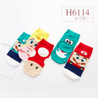 Cute cotton summer animal hidden Socks (Women's socks-5 double (H6114))
