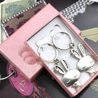 Cute Rabbit Couple Keychain Hand Anchor Keyring Keyfob Lover Gift -intl